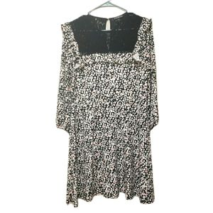 Express Ruffle Floral Black Lace Long Sleeve Dress